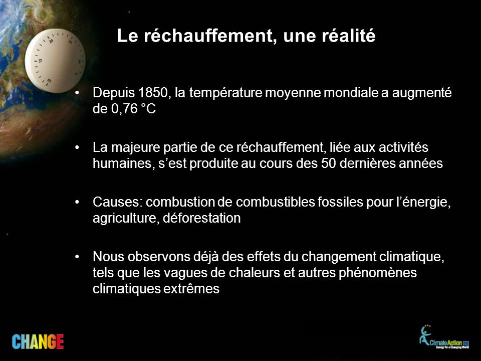 Le réchauffement, une réalité