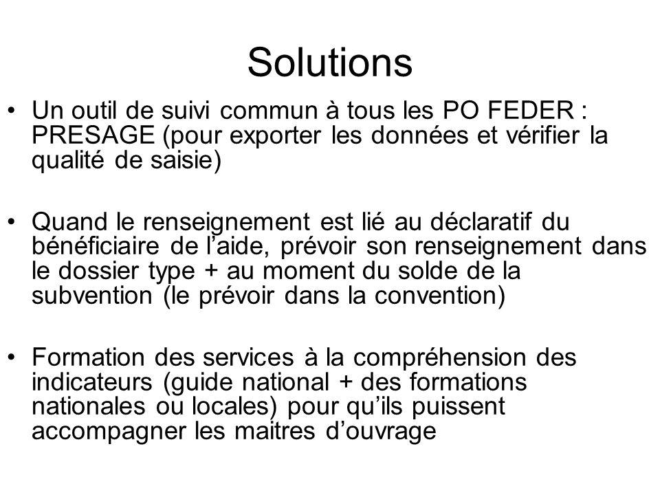 SolutionsUn outil de suivi commun à tous les PO FEDER : PRESAGE (pour exporter les données et vérifier la qualité de saisie)