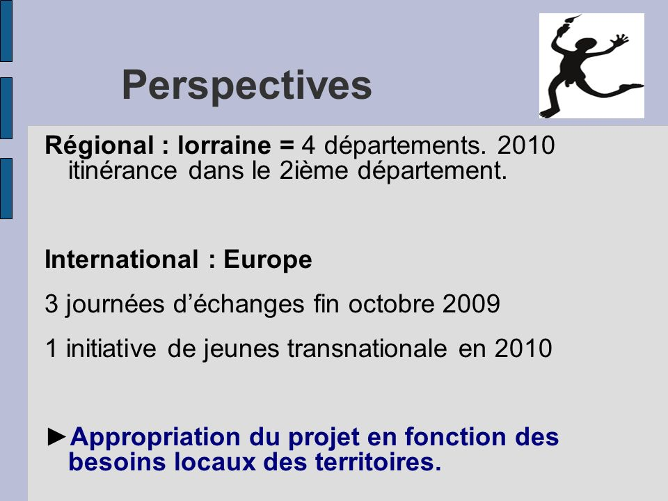 Perspectives Régional : lorraine = 4 départements. 2010 itinérance dans le 2ième département. International : Europe.