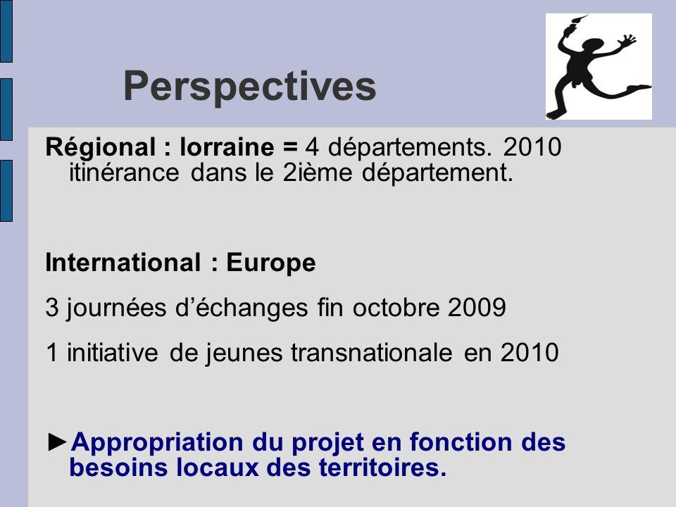 PerspectivesRégional : lorraine = 4 départements. 2010 itinérance dans le 2ième département. International : Europe.