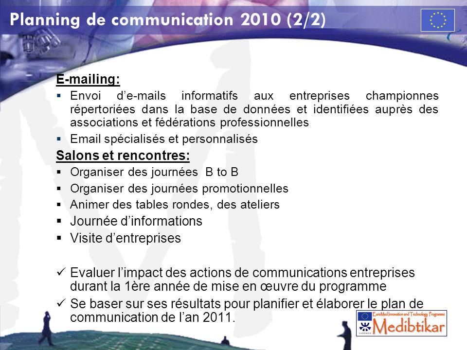 Planning de communication 2010 (2/2)