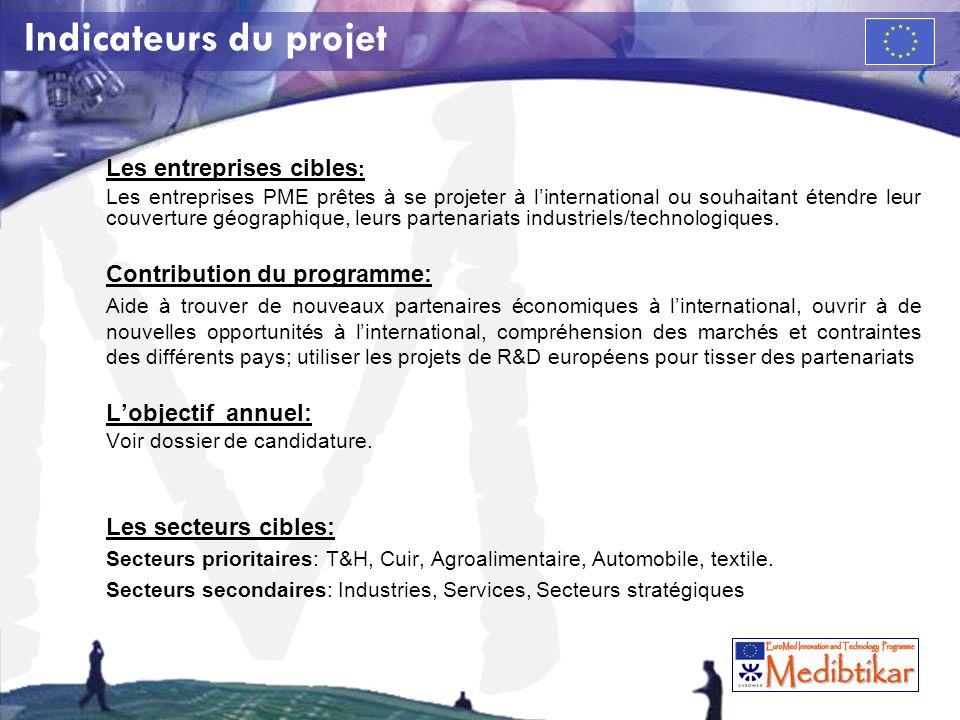 Indicateurs du projet Les entreprises cibles: