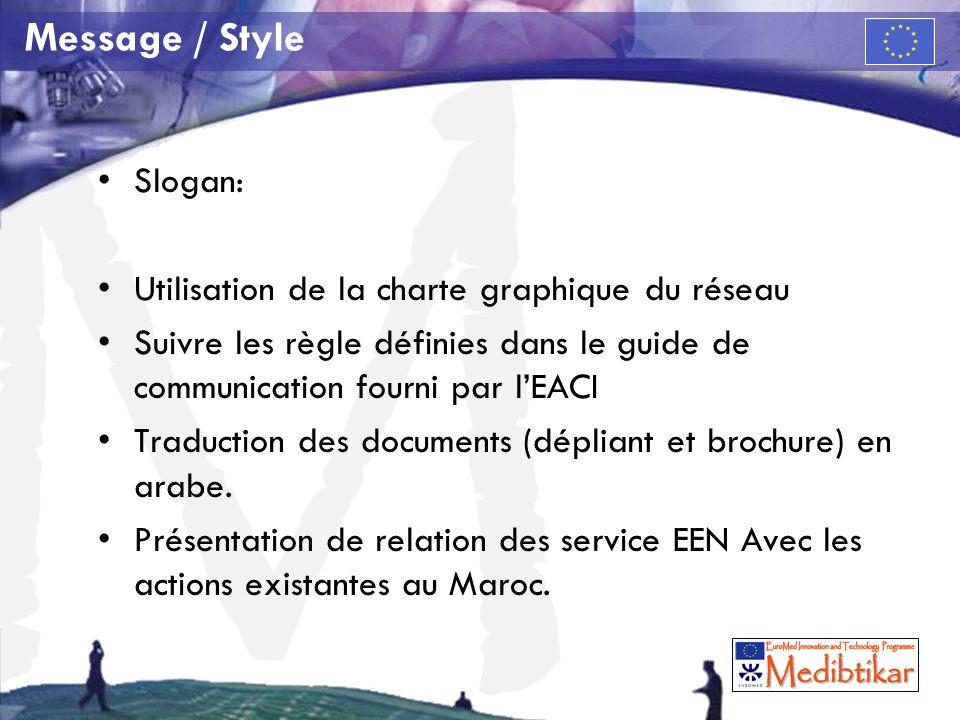 Message / Style Slogan: Utilisation de la charte graphique du réseau
