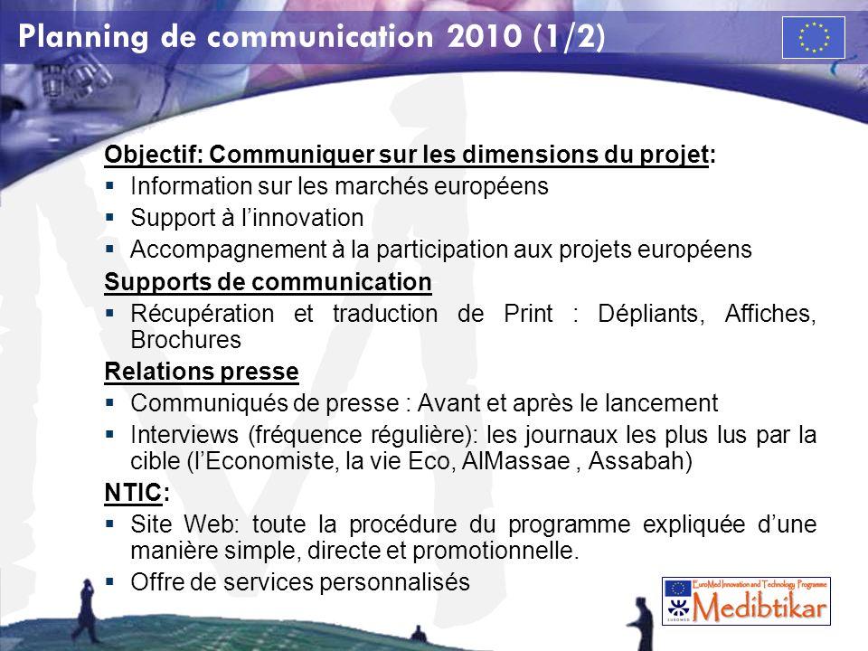 Planning de communication 2010 (1/2)