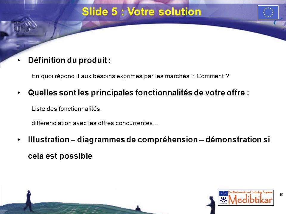 Slide 5 : Votre solution Définition du produit :