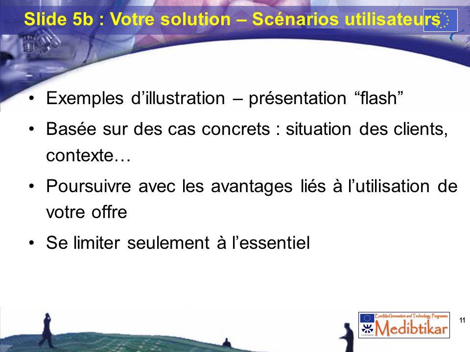 Slide 5b : Votre solution – Scénarios utilisateurs