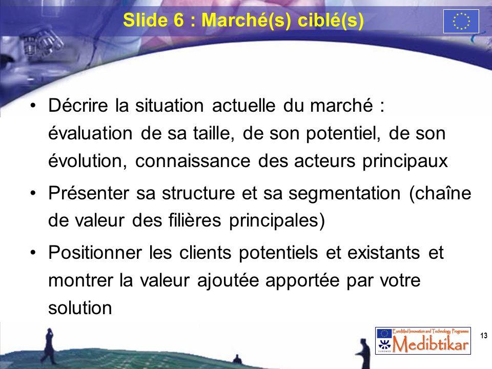 Slide 6 : Marché(s) ciblé(s)