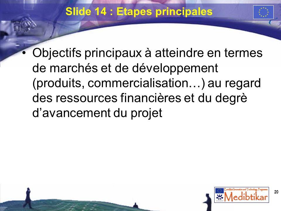 Slide 14 : Etapes principales