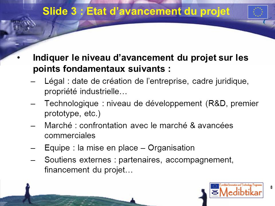 Slide 3 : Etat d'avancement du projet