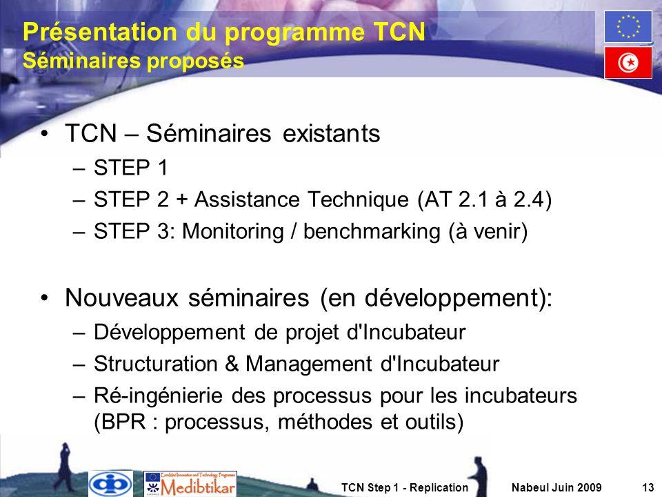 Présentation du programme TCN Séminaires proposés