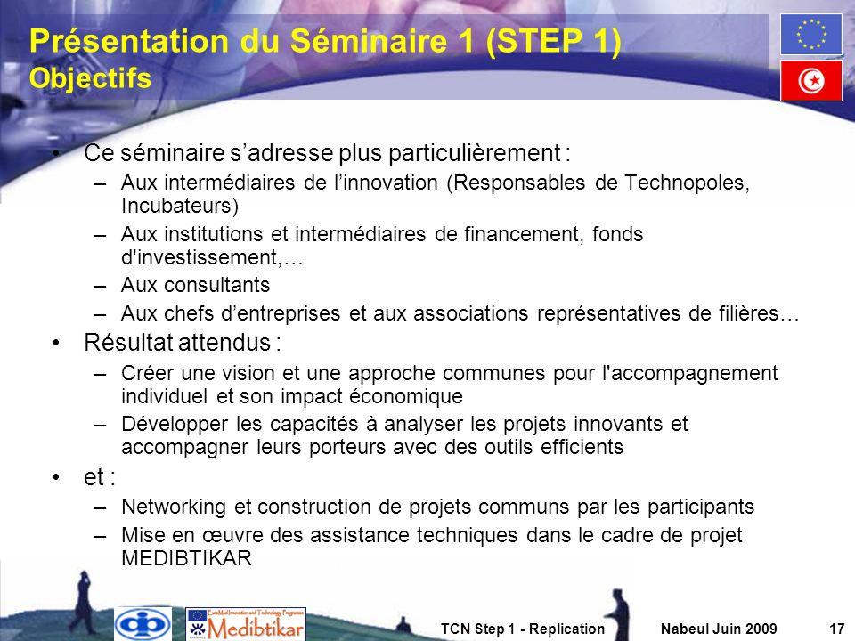 Présentation du Séminaire 1 (STEP 1) Objectifs