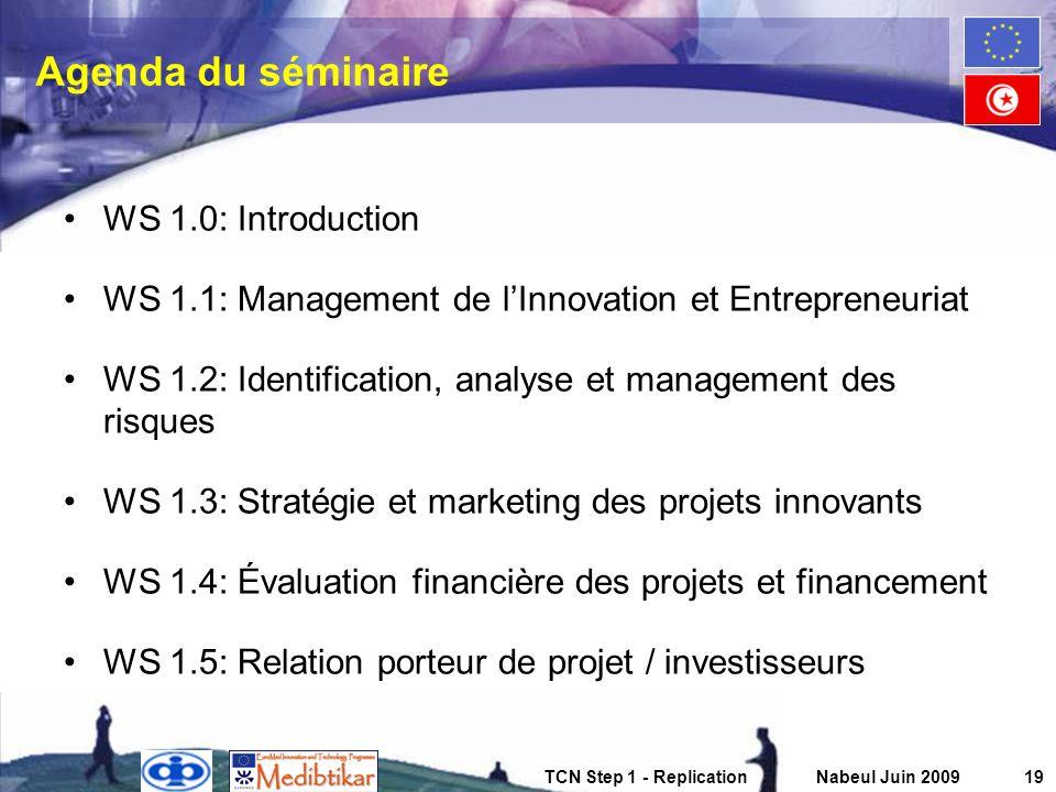Agenda du séminaire WS 1.0: Introduction