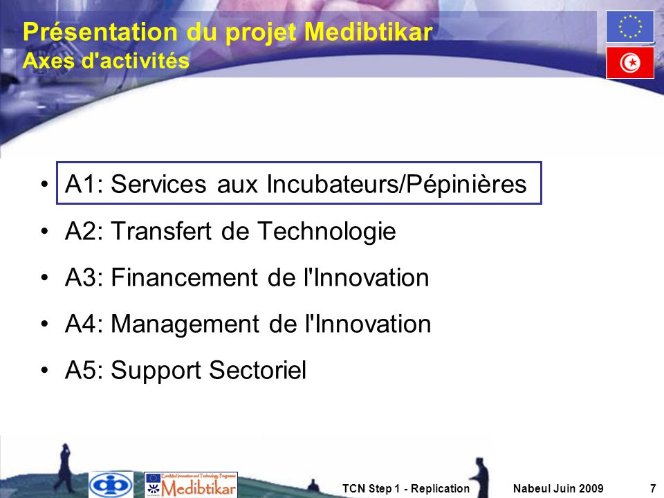 Présentation du projet Medibtikar Axes d activités