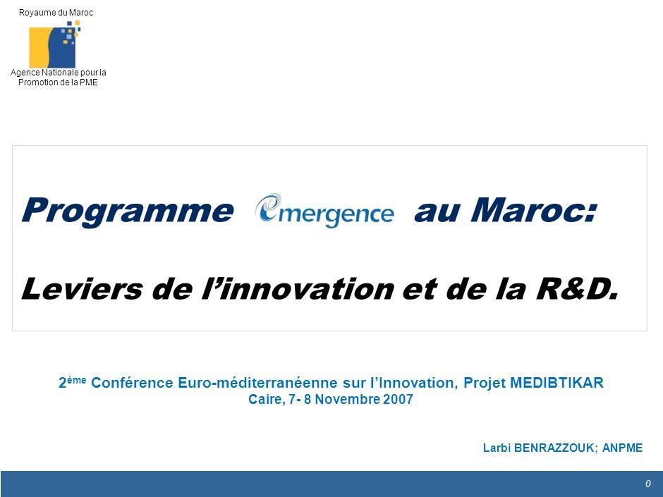 Programme au Maroc: Leviers de l'innovation et de la R&D.