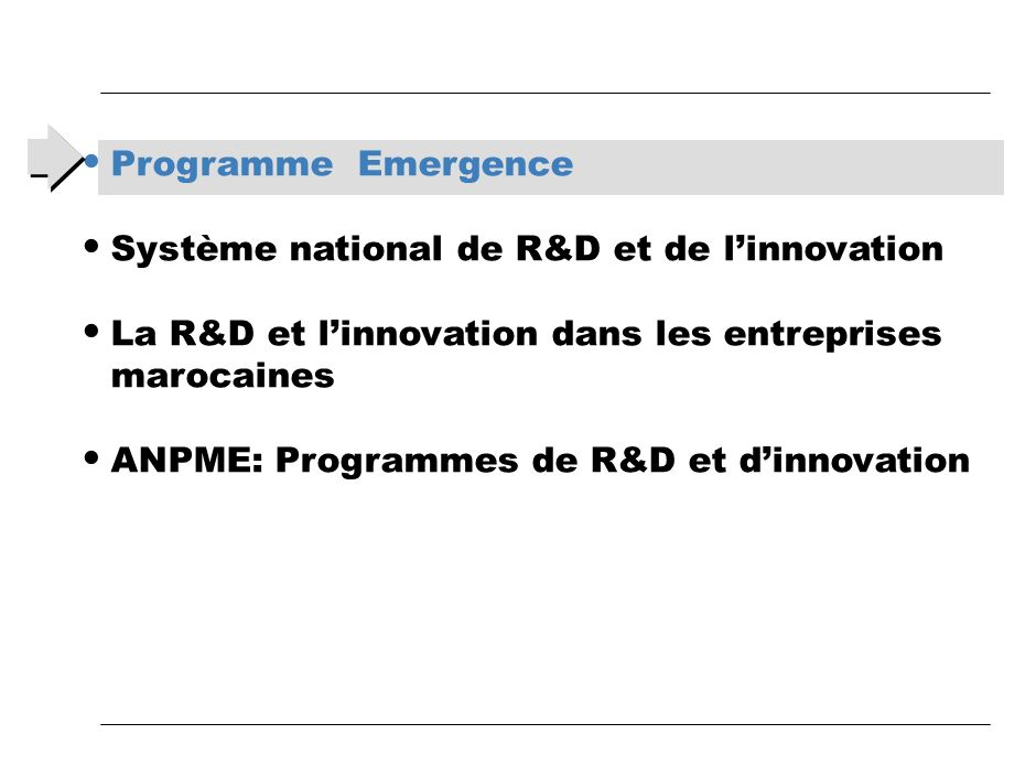 Programme Emergence Système national de R&D et de l'innovation. La R&D et l'innovation dans les entreprises marocaines.