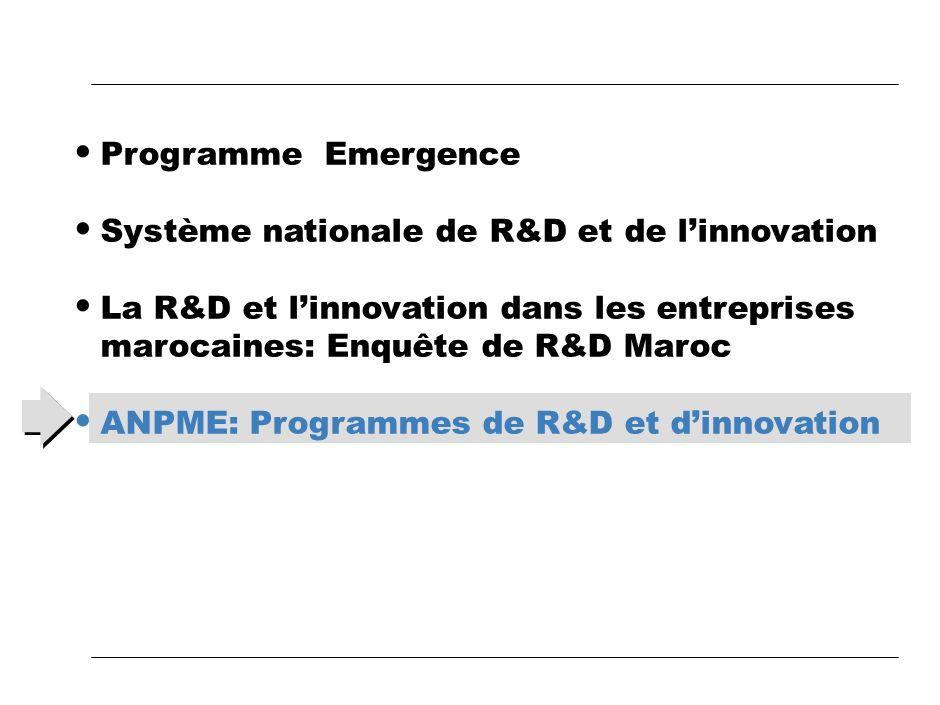 Programme EmergenceSystème nationale de R&D et de l'innovation. La R&D et l'innovation dans les entreprises marocaines: Enquête de R&D Maroc.