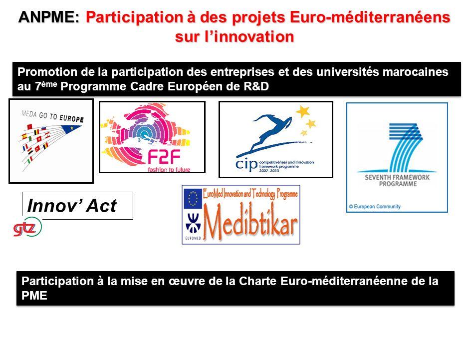 ANPME: Participation à des projets Euro-méditerranéens sur l'innovation