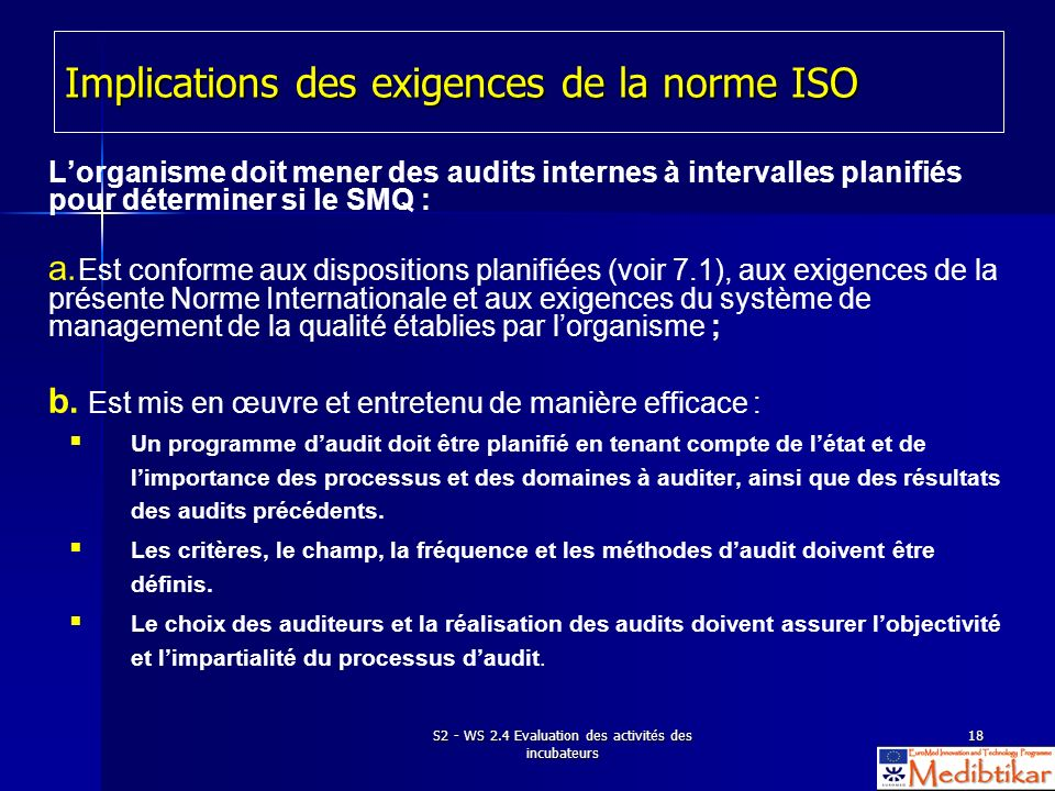 Implications des exigences de la norme ISO