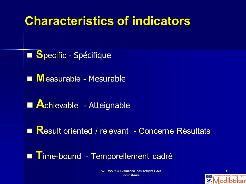 Characteristics of indicators