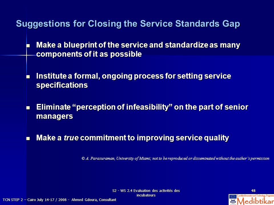 Suggestions for Closing the Service Standards Gap