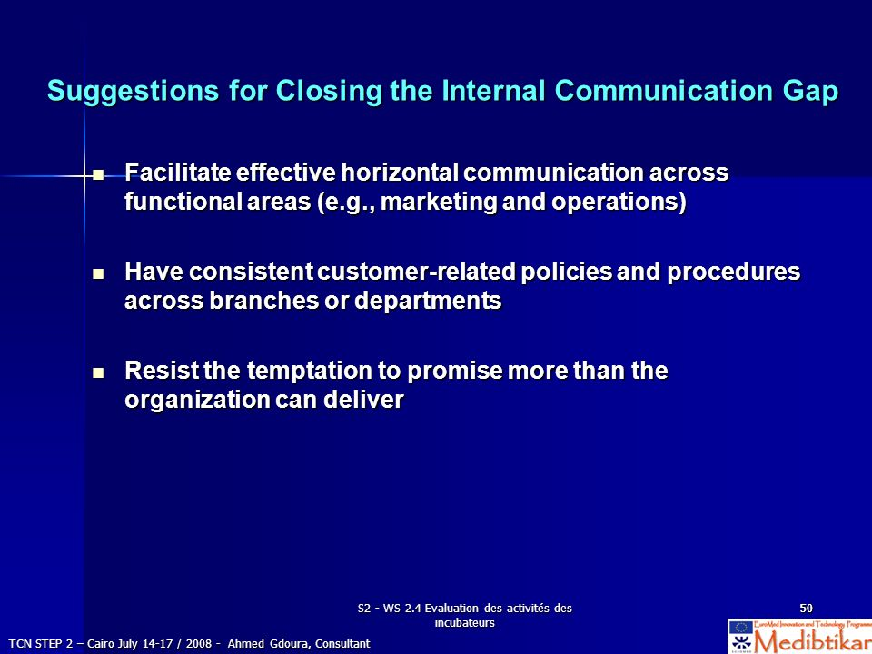 Suggestions for Closing the Internal Communication Gap