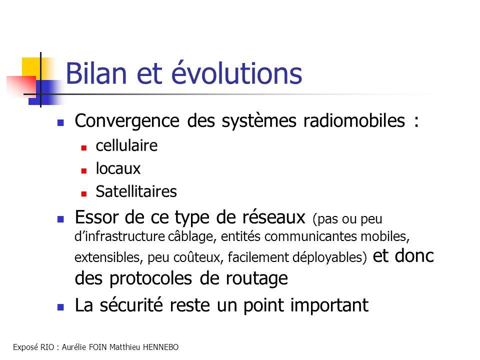 Bilan et évolutions Convergence des systèmes radiomobiles :