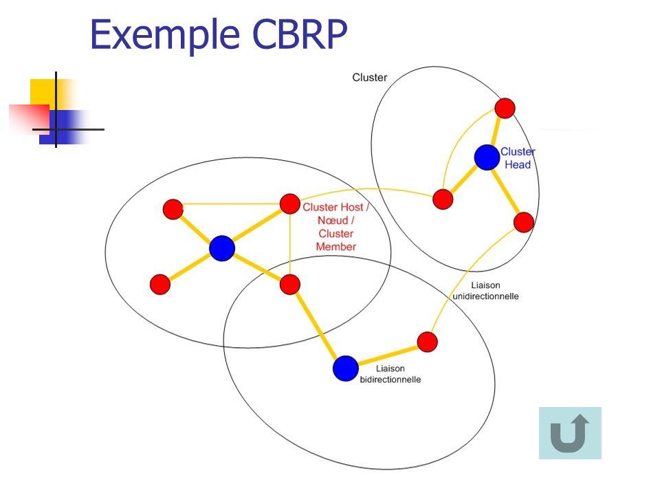 Exemple CBRP Notion de Cluster permet de limiter les trafics de découvertes de route.