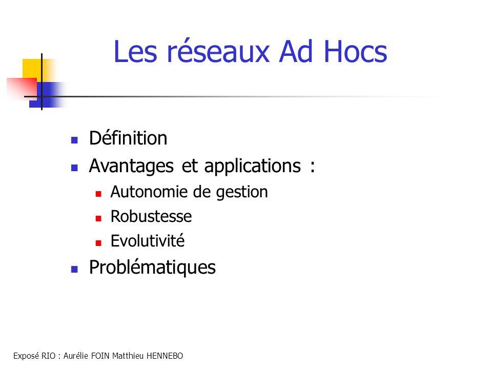 Les réseaux Ad Hocs Définition Avantages et applications :