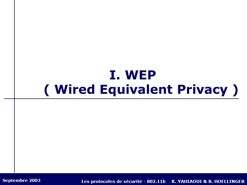 I. WEP ( Wired Equivalent Privacy )
