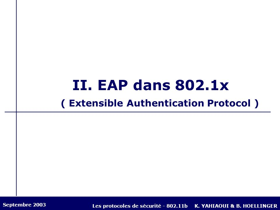 II. EAP dans 802.1x ( Extensible Authentication Protocol )