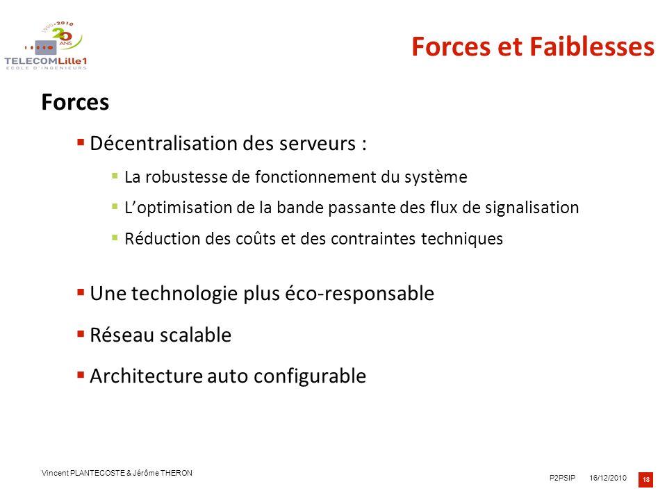 Forces et Faiblesses Forces Décentralisation des serveurs :