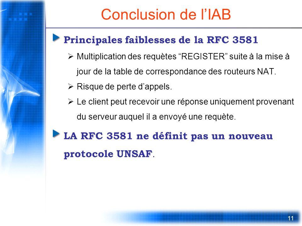 Conclusion de l'IAB Principales faiblesses de la RFC 3581