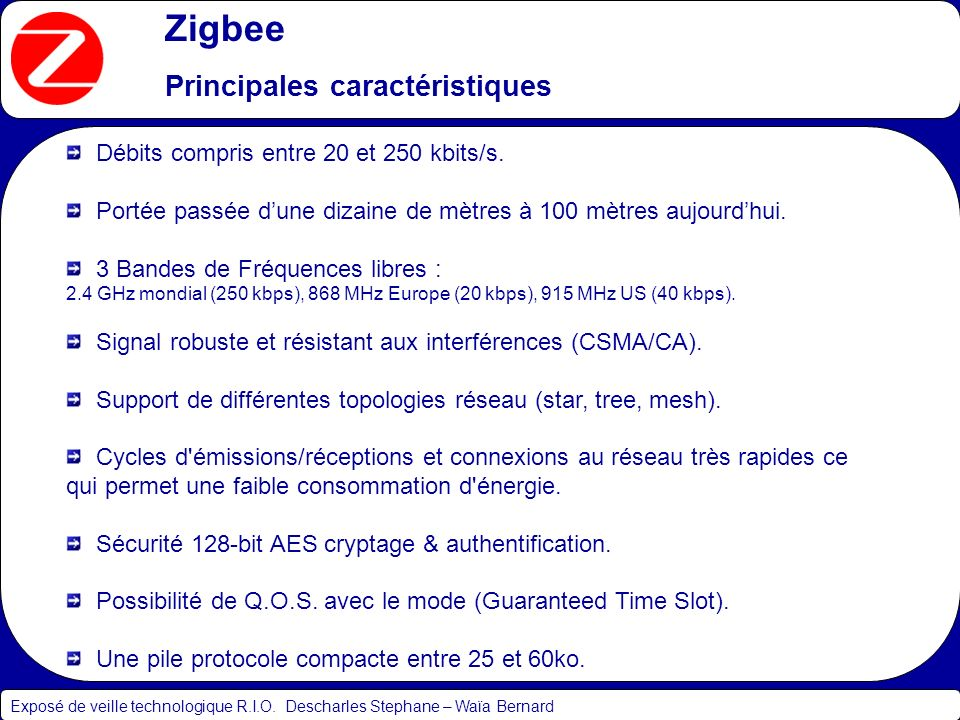 Zigbee Principales caractéristiques