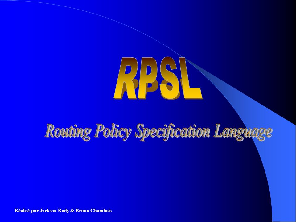 Routing Policy Specification Language