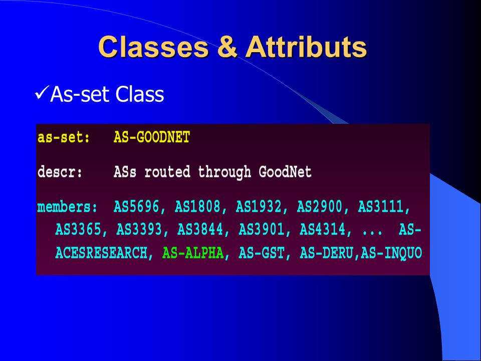 Classes & Attributs As-set Class