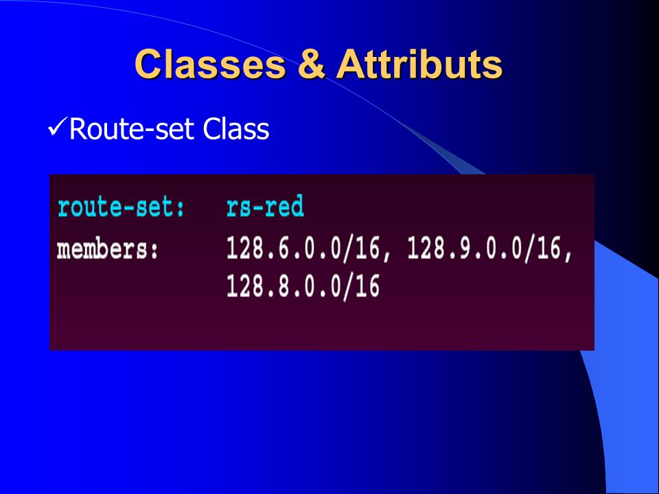 Classes & Attributs Route-set Class