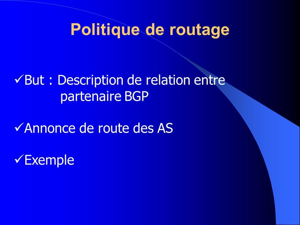 Politique de routage But : Description de relation entre partenaire BGP. Annonce de route des AS.