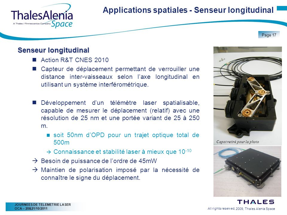 Applications spatiales - Senseur longitudinal