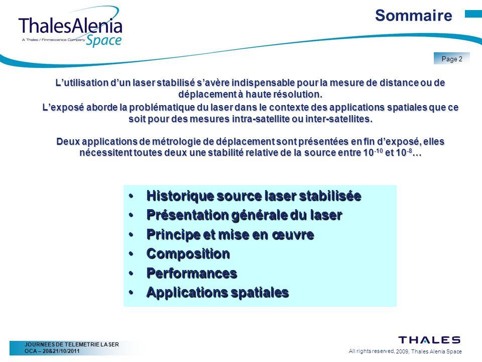Sommaire Historique source laser stabilisée