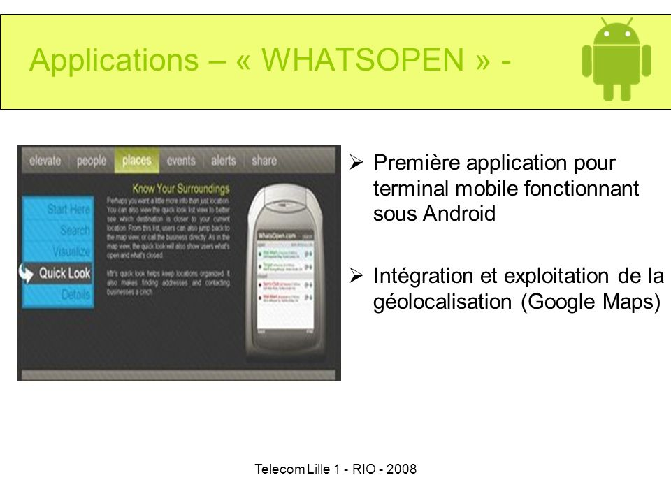 Applications – « WHATSOPEN » -