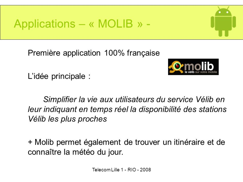 Applications – « MOLIB » -
