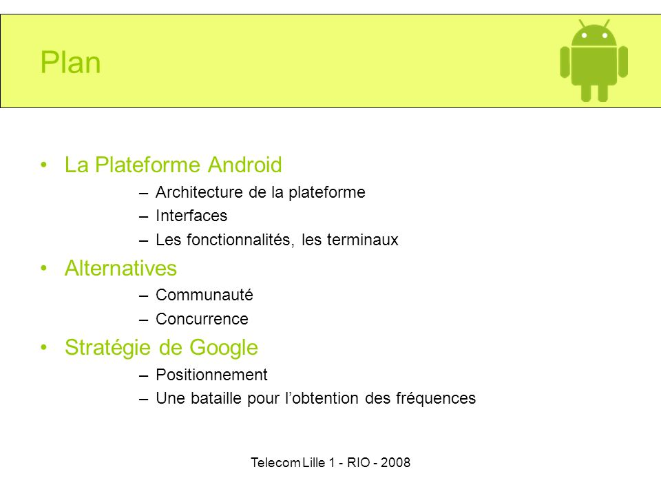 Plan La Plateforme Android Alternatives Stratégie de Google