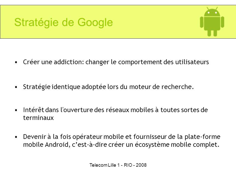 Stratégie de GoogleCréer une addiction: changer le comportement des utilisateurs. Stratégie identique adoptée lors du moteur de recherche.