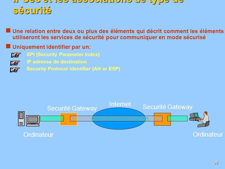 IPSec et les associations de type de sécurité