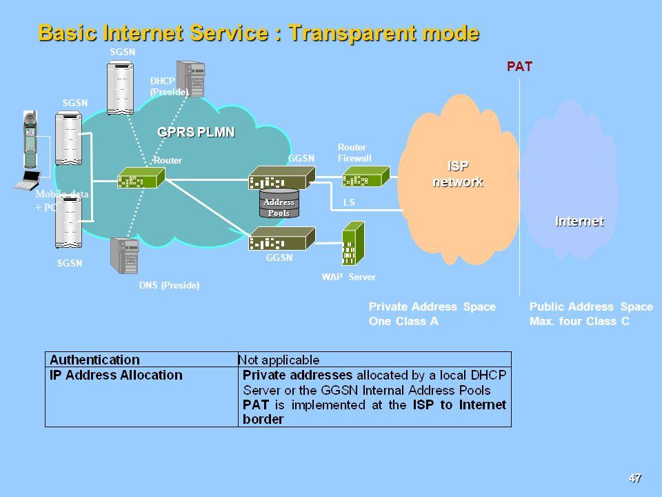 Basic Internet Service : Transparent mode