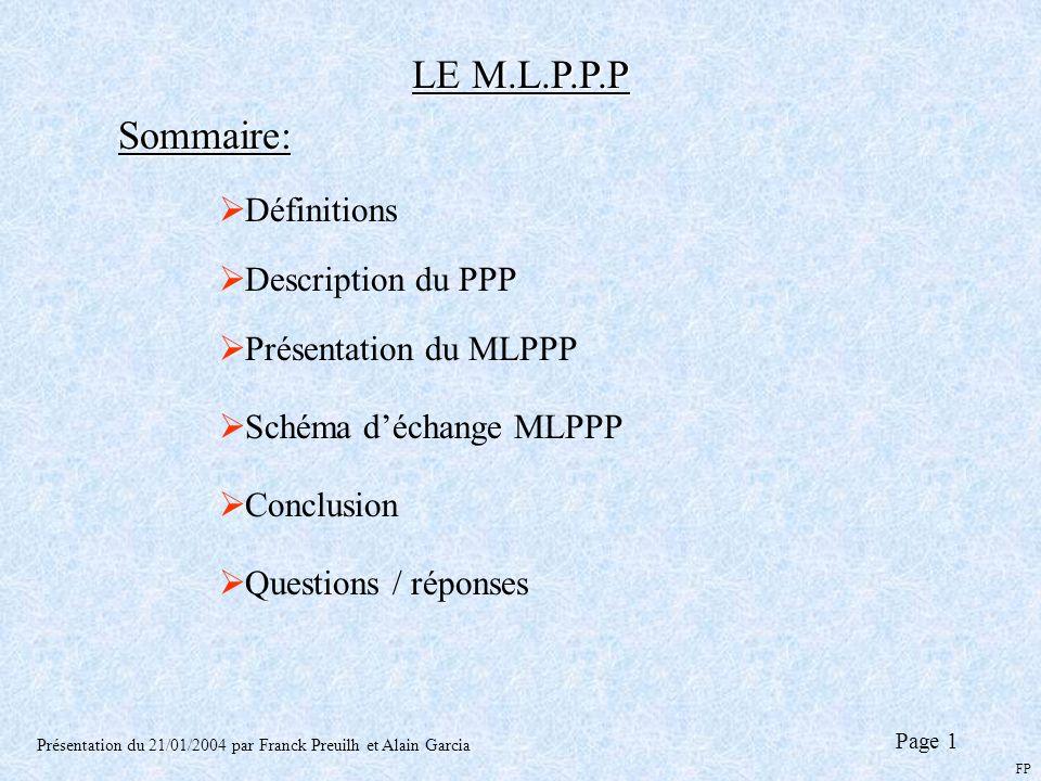LE M.L.P.P.P Sommaire: Définitions Description du PPP