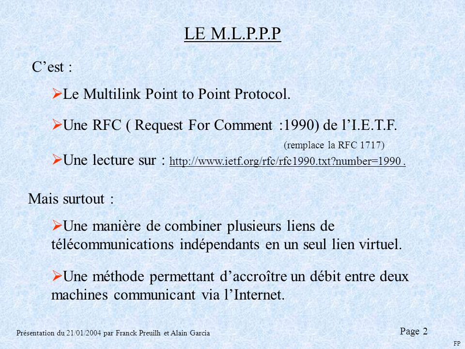 LE M.L.P.P.P C'est : Le Multilink Point to Point Protocol.