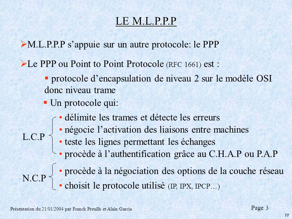 LE M.L.P.P.P M.L.P.P.P s'appuie sur un autre protocole: le PPP