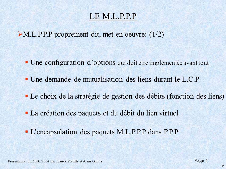 LE M.L.P.P.P M.L.P.P.P proprement dit, met en oeuvre: (1/2)