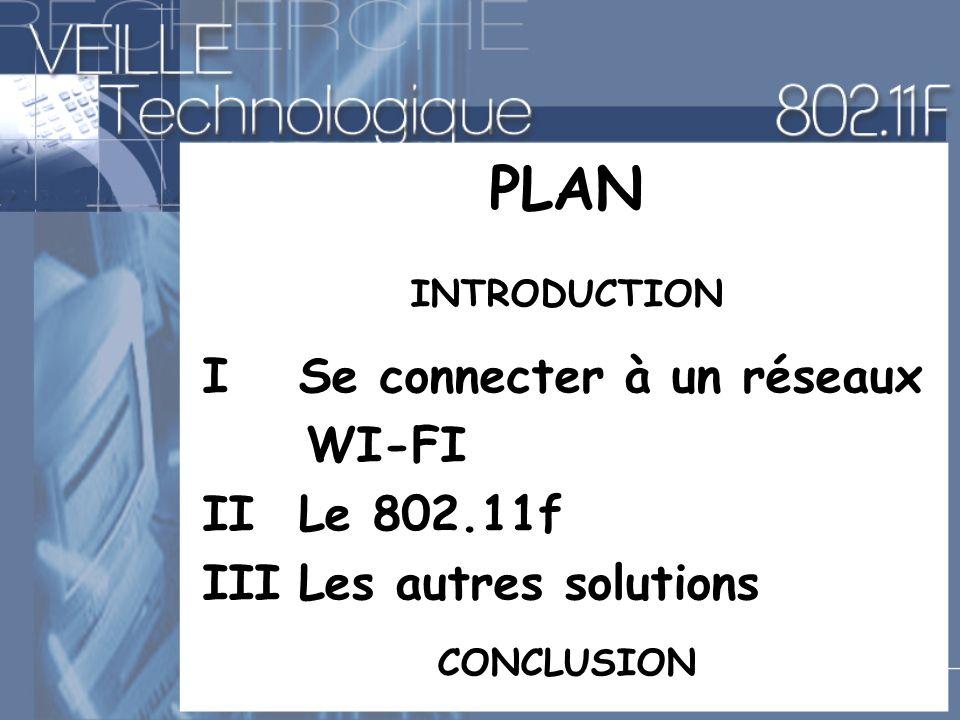 PLAN I Se connecter à un réseaux WI-FI II Le 802.11f